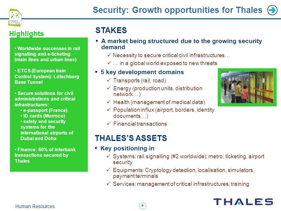 12 Human Resources Security: Growth opportunities for Thales THALES'S ASSETS  Key positioning in Systems: rail signalling (#2 worldwide); metro; ticketing, airport security Equipments: Cryptology detection, localisation, simulators, payment terminals Services: management of critical infrastructures, training Worldwide successes in rail signalling and e-ticketing (main lines and urban lines) ETCS (European train Control System): Lötschberg Base Tunnel Secure solutions for civil administrations and critical infrastructures: e-passport (France) ID cards (Morroco) safety and security systems for the international airports of Dubai and Doha Finance: 50% of interbank transactions secured by Thales Highlights STAKES  A market being structured due to the growing security demand Necessity to secure critical civil infrastructures… … in a global world exposed to new threats  5 key development domains Transports (rail, road) Energy (production units, distribution network…) Health (management of medical data) Population influx (airport, borders, identity documents…) Financial transactions