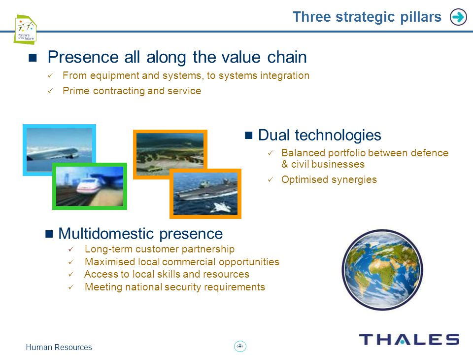7 Human Resources Three strategic pillars Presence all along the value chain From equipment and systems, to systems integration Prime contracting and service Multidomestic presence Long-term customer partnership Maximised local commercial opportunities Access to local skills and resources Meeting national security requirements Dual technologies Balanced portfolio between defence & civil businesses Optimised synergies