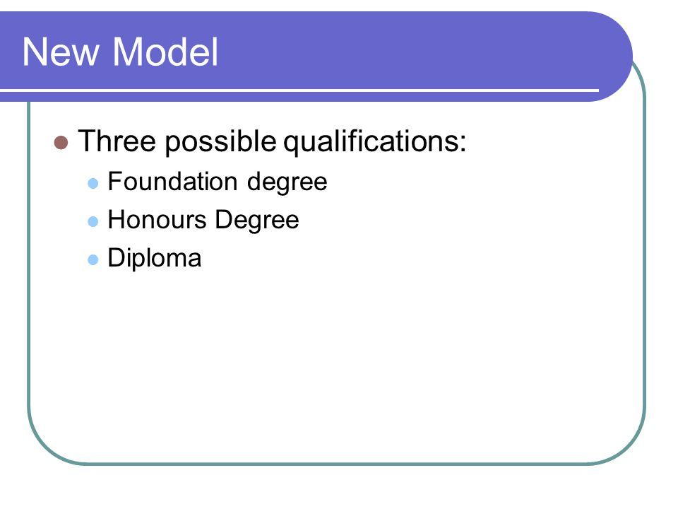 New Model Three possible qualifications: Foundation degree Honours Degree Diploma