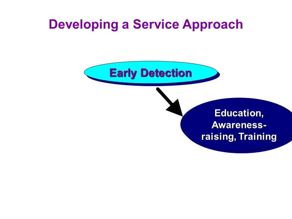Developing a Service Approach Early Detection Education, Awareness- raising, Training
