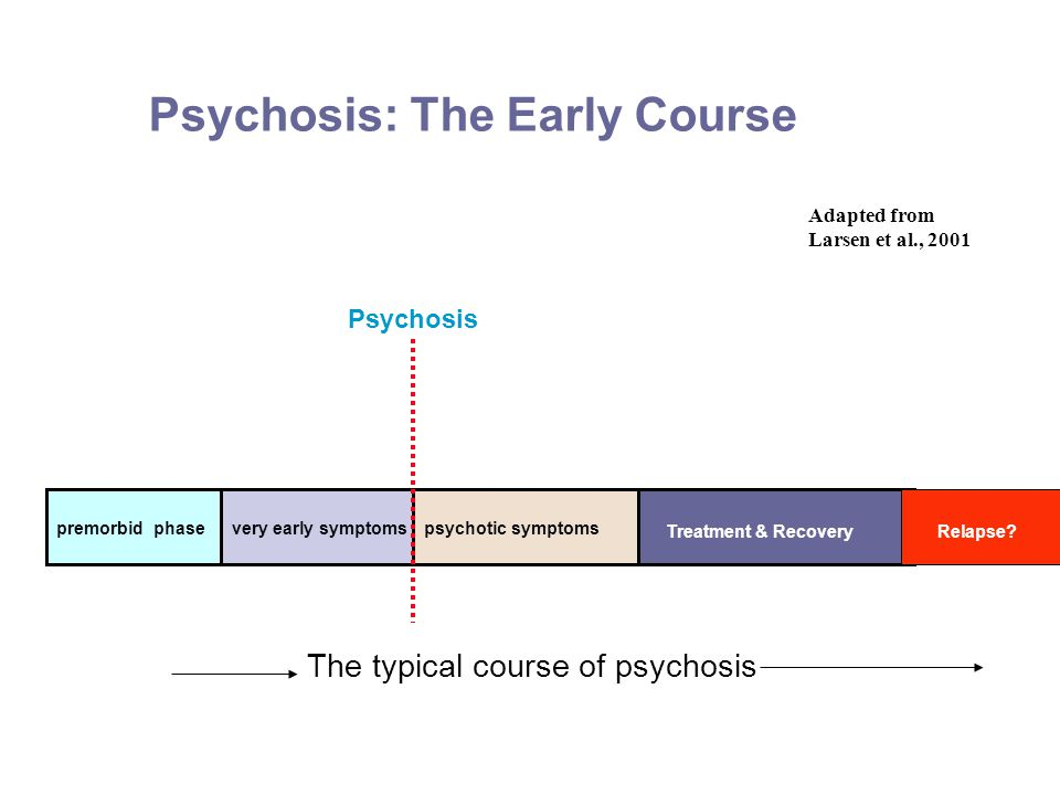 Psychosis: The Early Course Adapted from Larsen et al., 2001 premorbid phasevery early symptomspsychotic symptoms The typical course of psychosis Psychosis Treatment & RecoveryRelapse
