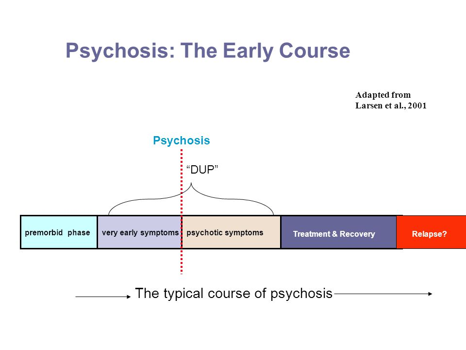 Psychosis: The Early Course Adapted from Larsen et al., 2001 premorbid phasevery early symptomspsychotic symptoms The typical course of psychosis Psychosis Treatment & RecoveryRelapse.