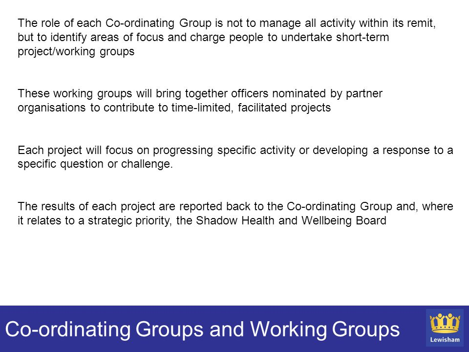 Co-ordinating Groups and Working Groups The role of each Co-ordinating Group is not to manage all activity within its remit, but to identify areas of focus and charge people to undertake short-term project/working groups These working groups will bring together officers nominated by partner organisations to contribute to time-limited, facilitated projects Each project will focus on progressing specific activity or developing a response to a specific question or challenge.
