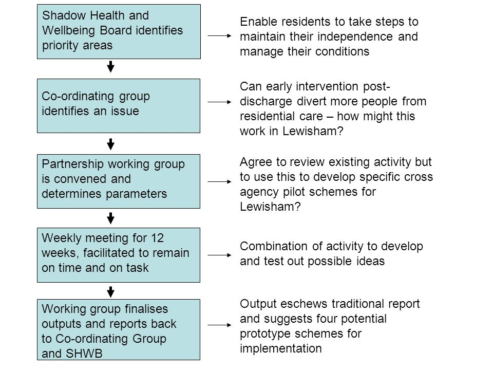 Can early intervention post- discharge divert more people from residential care – how might this work in Lewisham? Co-ordinating group identifies an i