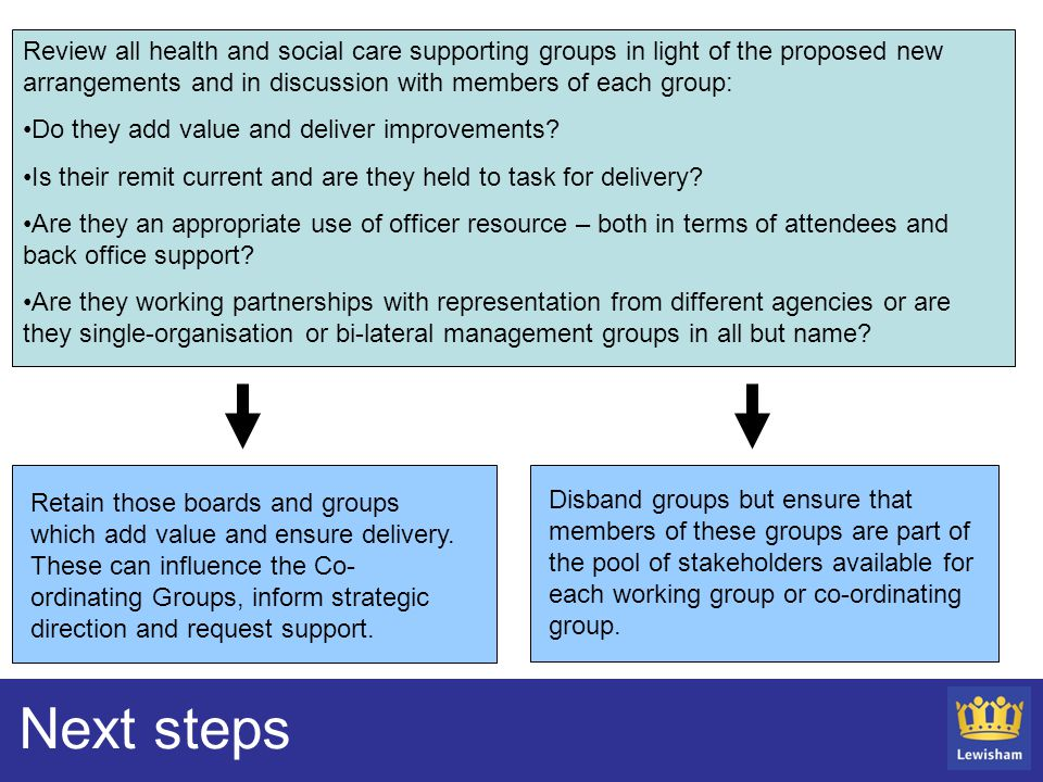 Next steps Review all health and social care supporting groups in light of the proposed new arrangements and in discussion with members of each group: