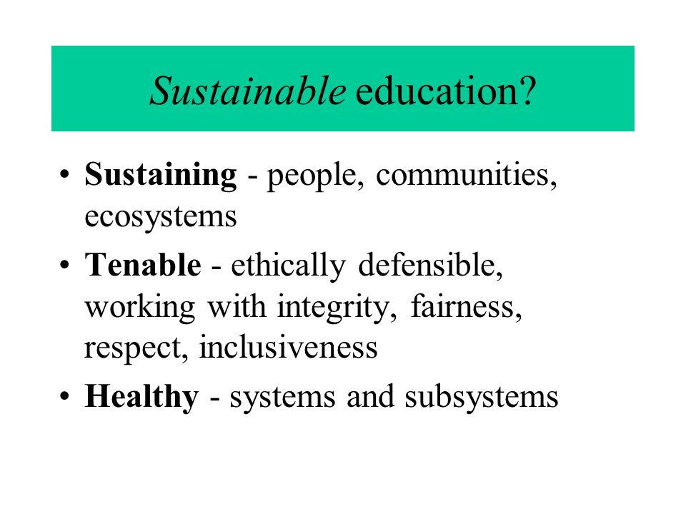 Sustainable education.