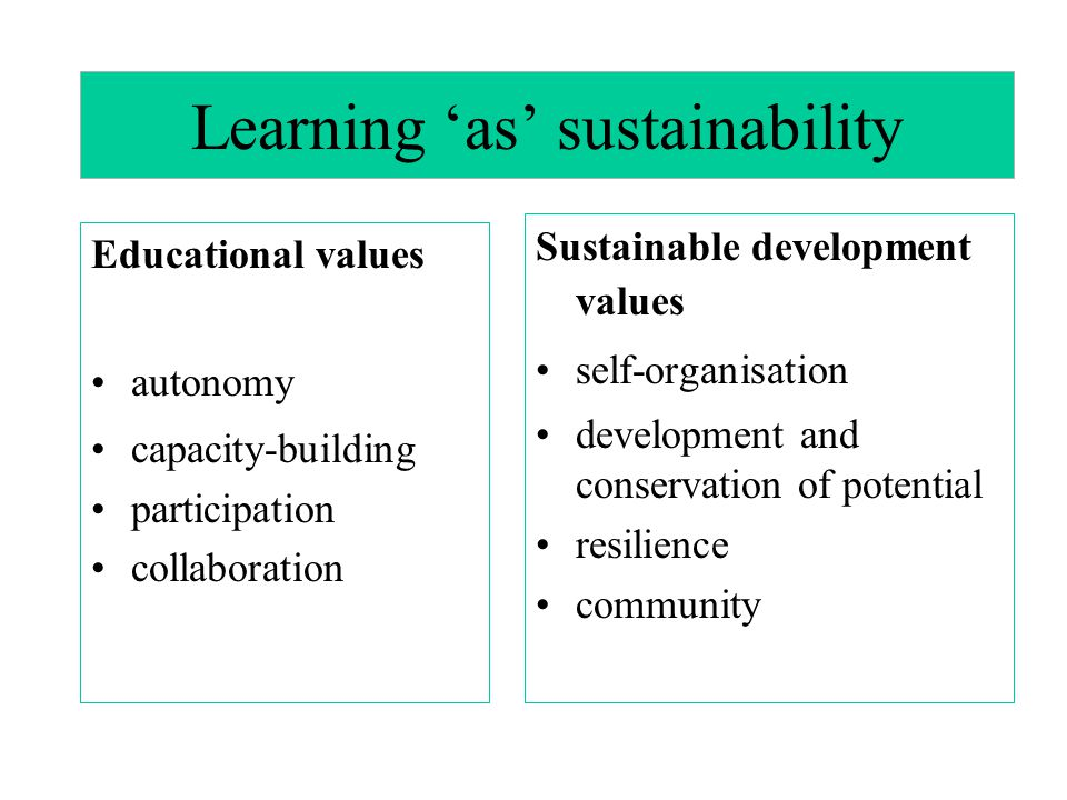 Learning 'as' sustainability Educational values autonomy capacity-building participation collaboration Sustainable development values self-organisation development and conservation of potential resilience community