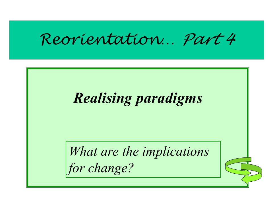 Reorientation… Part 4 Realising paradigms What are the implications for change?