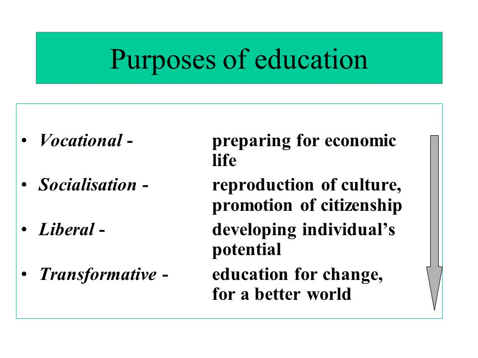 Purposes of education Vocational - preparing for economic life Socialisation -reproduction of culture, promotion of citizenship Liberal - developing individual's potential Transformative - education for change, for a better world