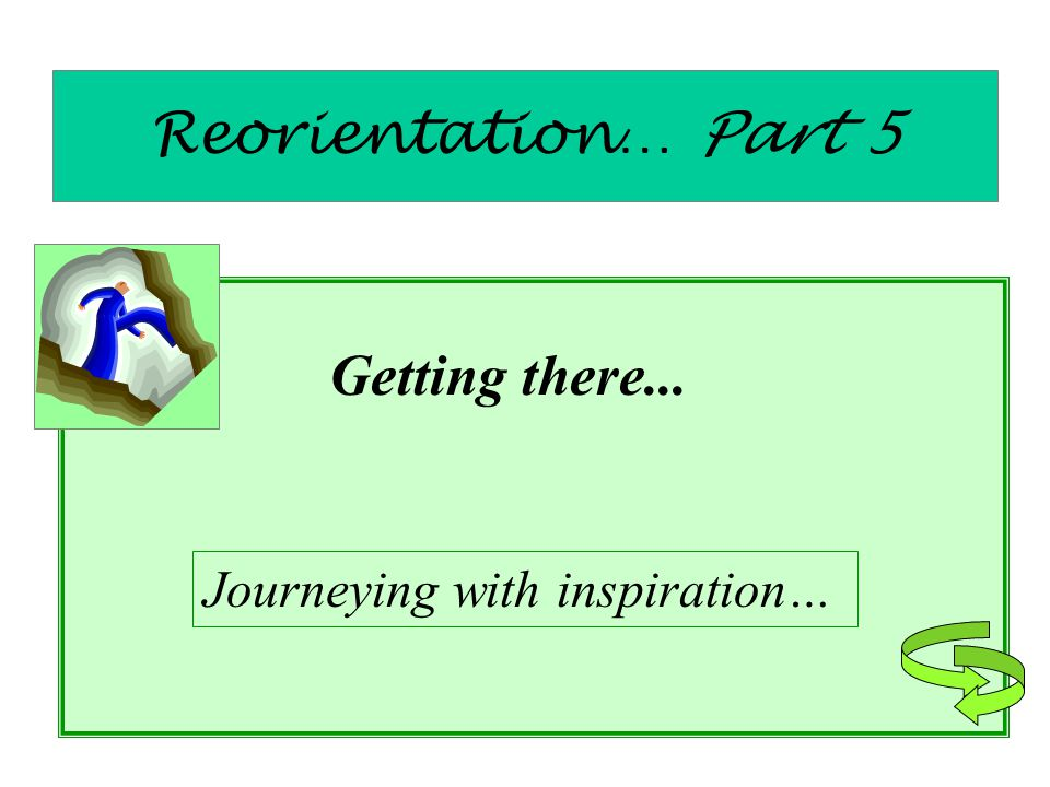 Reorientation… Part 5 Getting there... Journeying with inspiration…