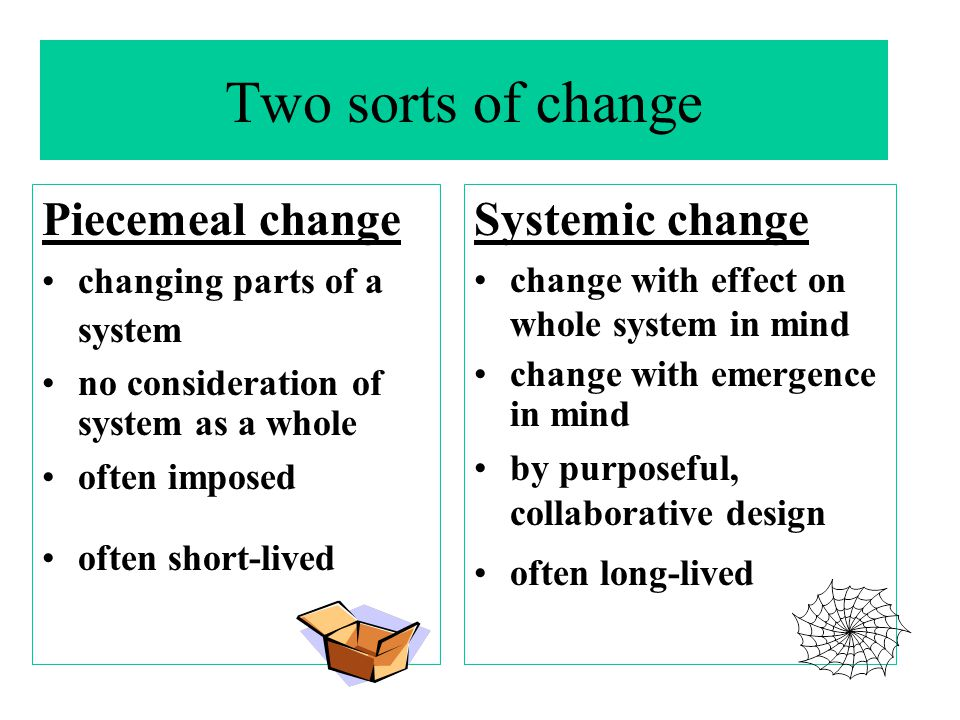 Two sorts of change Piecemeal change changing parts of a system no consideration of system as a whole often imposed often short-lived Systemic change change with effect on whole system in mind change with emergence in mind by purposeful, collaborative design often long-lived