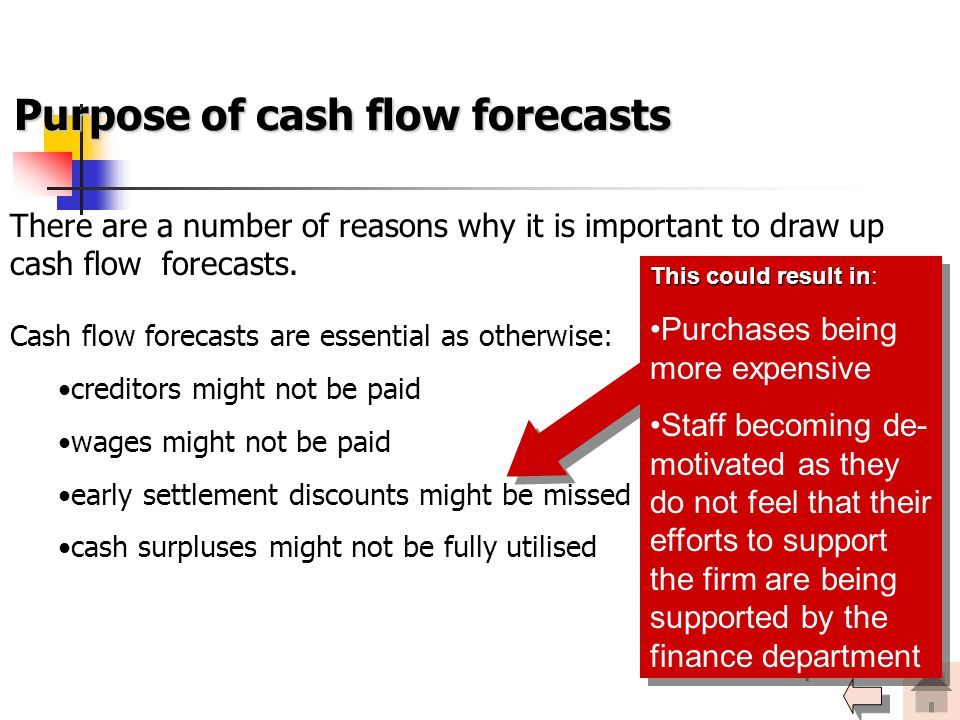 Purpose of cash flow forecasts There are a number of reasons why it is important to draw up cash flow forecasts. Cash flow forecasts are essential as