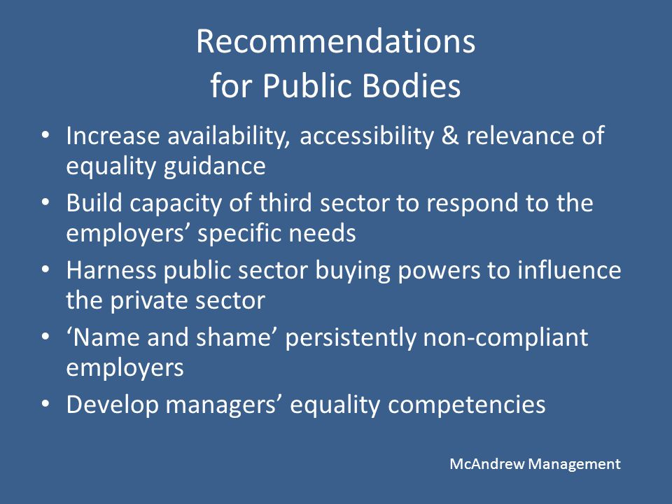 Recommendations for Public Bodies Increase availability, accessibility & relevance of equality guidance Build capacity of third sector to respond to t