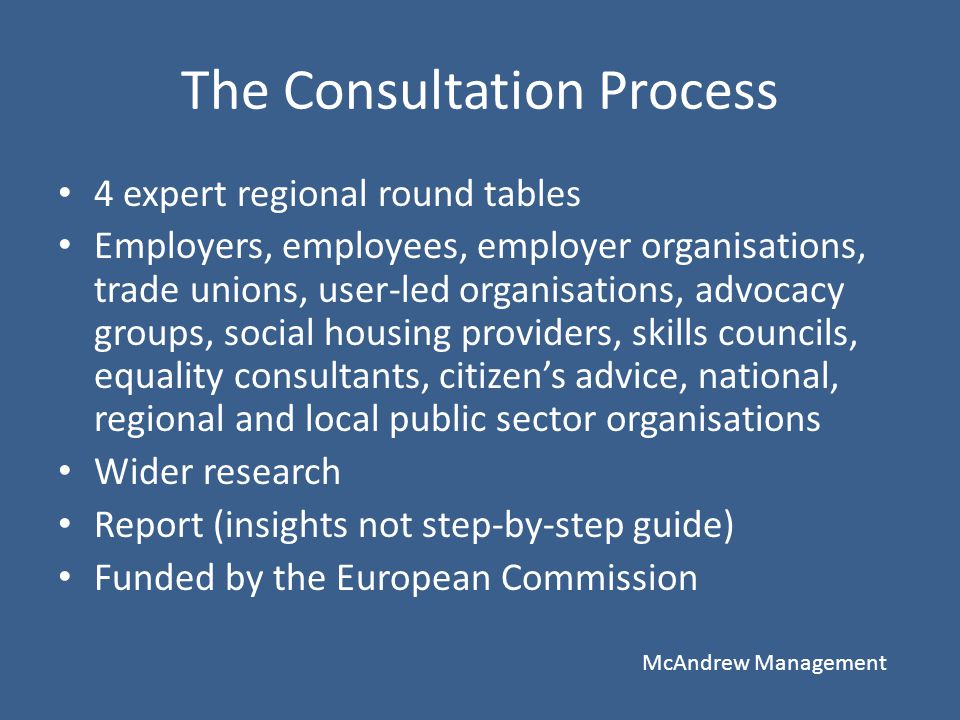 The Consultation Process 4 expert regional round tables Employers, employees, employer organisations, trade unions, user-led organisations, advocacy g
