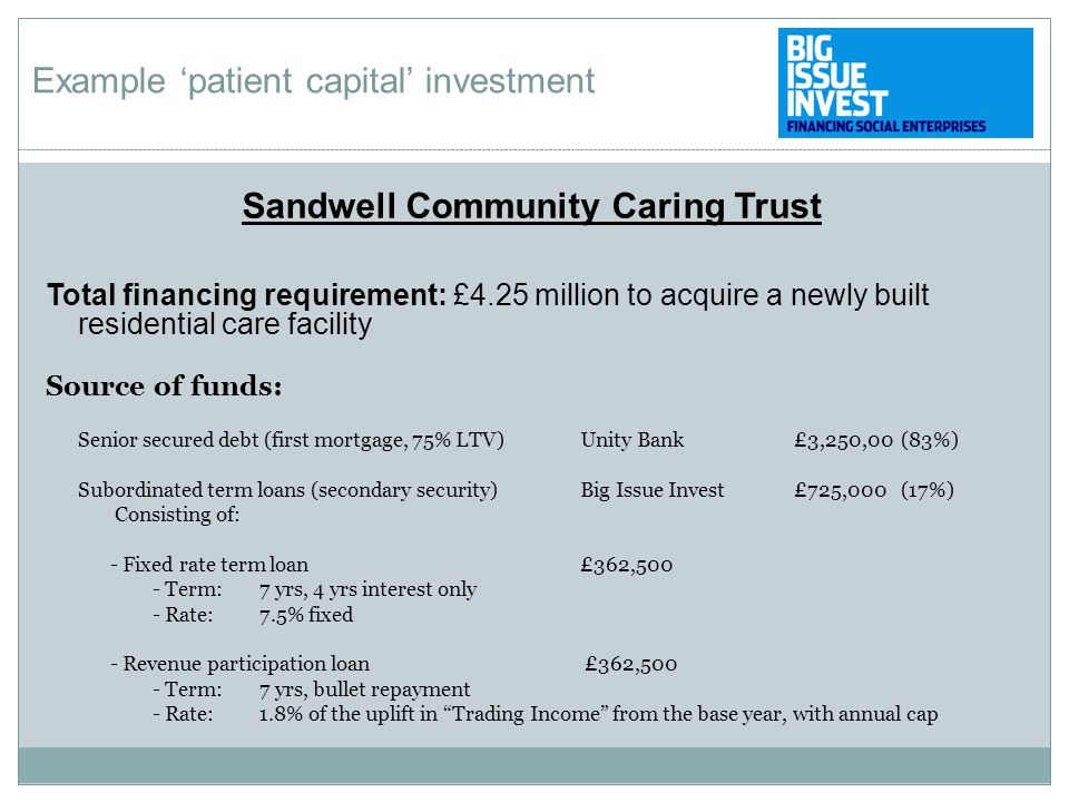 Sandwell Community Caring Trust Total financing requirement: £4.25 million to acquire a newly built residential care facility Source of funds: Senior secured debt (first mortgage, 75% LTV) Unity Bank£3,250,00(83%) Subordinated term loans (secondary security) Big Issue Invest£725,000(17%) Consisting of: - Fixed rate term loan £362,500 - Term:7 yrs, 4 yrs interest only - Rate: 7.5% fixed - Revenue participation loan £362,500 - Term:7 yrs, bullet repayment - Rate:1.8% of the uplift in Trading Income from the base year, with annual cap Example 'patient capital' investment