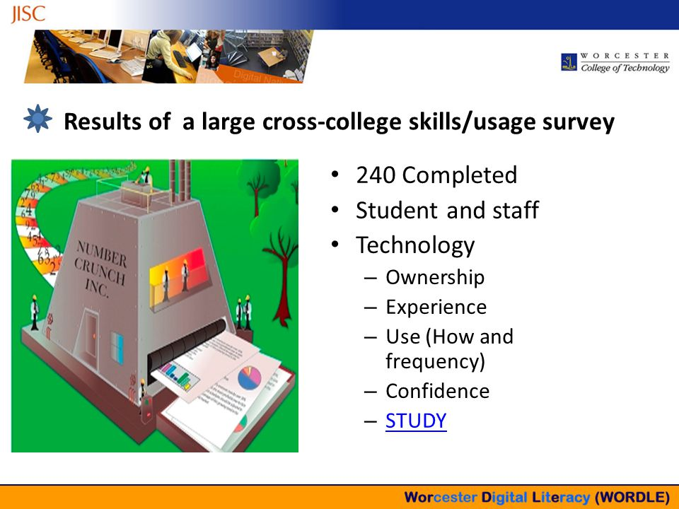 Results of a large cross-college skills/usage survey 240 Completed Student and staff Technology – Ownership – Experience – Use (How and frequency) – Confidence – STUDY STUDY
