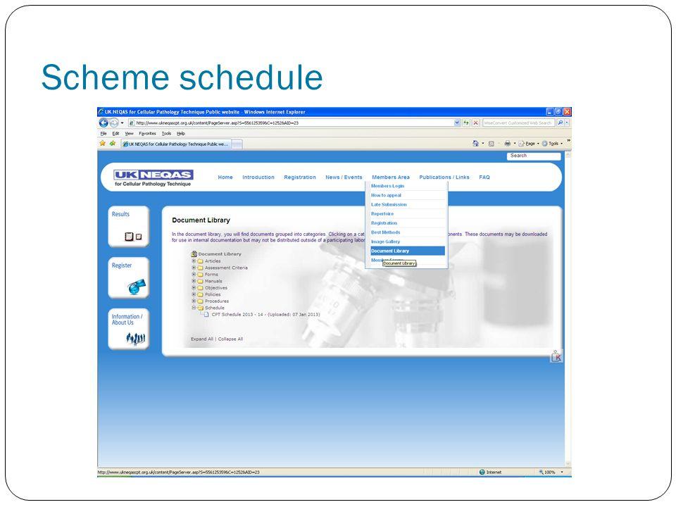 Scheme schedule