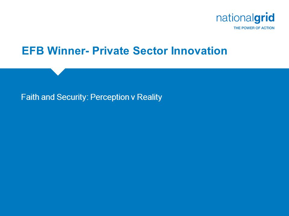 EFB Winner- Private Sector Innovation Faith and Security: Perception v Reality