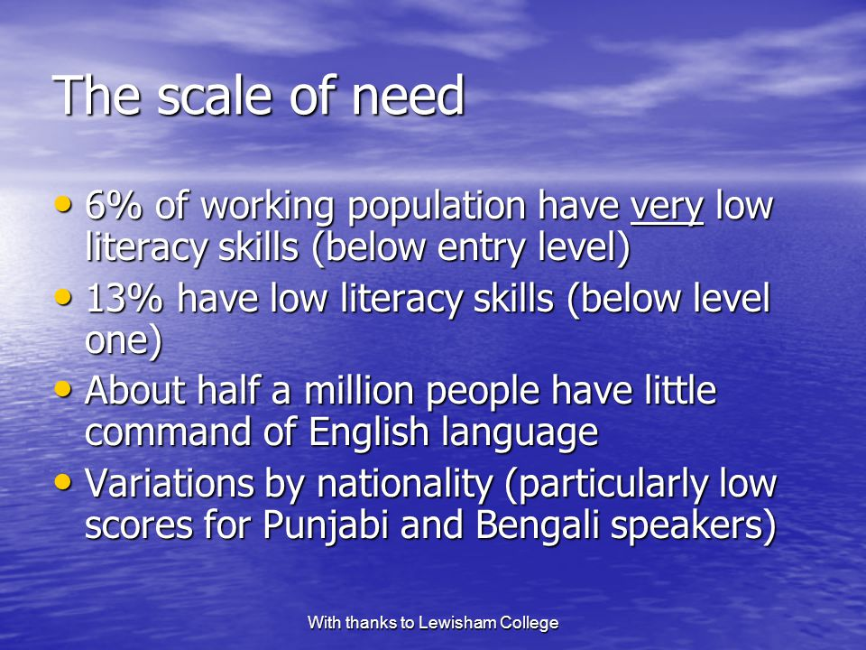 With thanks to Lewisham College The scale of need 6% of working population have very low literacy skills (below entry level) 6% of working population have very low literacy skills (below entry level) 13% have low literacy skills (below level one) 13% have low literacy skills (below level one) About half a million people have little command of English language About half a million people have little command of English language Variations by nationality (particularly low scores for Punjabi and Bengali speakers) Variations by nationality (particularly low scores for Punjabi and Bengali speakers)