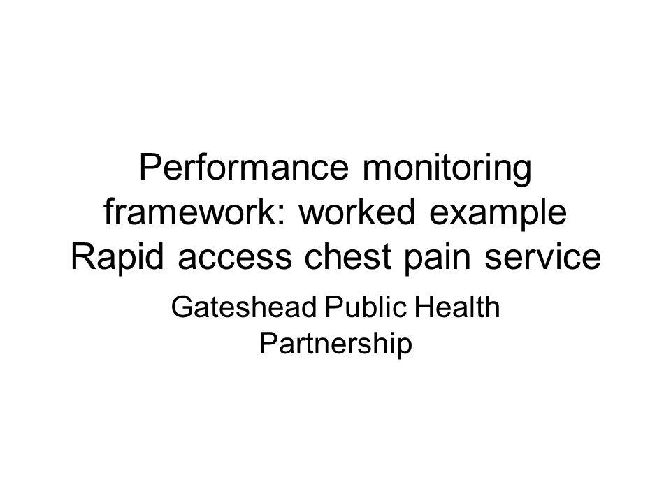 Performance monitoring framework: worked example Rapid access chest pain service Gateshead Public Health Partnership