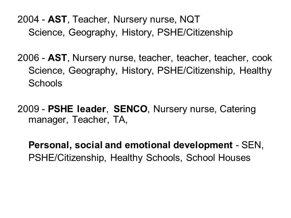 2004 - AST, Teacher, Nursery nurse, NQT Science, Geography, History, PSHE/Citizenship 2006 - AST, Nursery nurse, teacher, teacher, teacher, cook Scien
