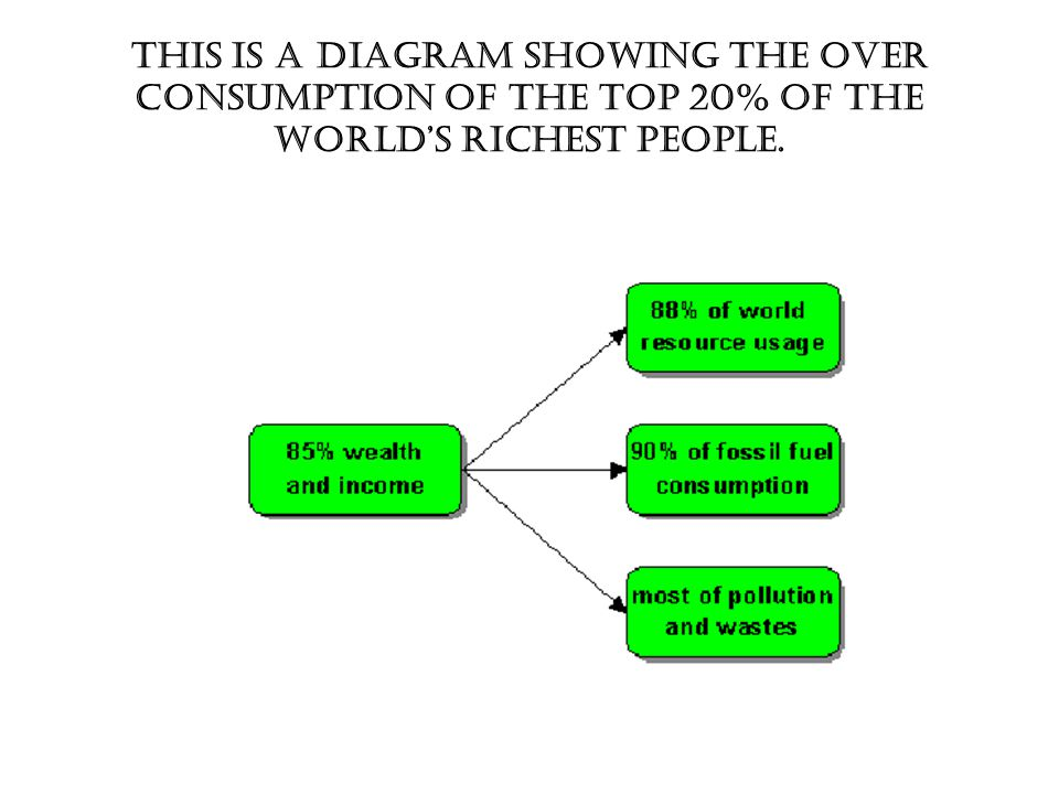 This is a diagram showing the over consumption of the top 20% of the world's richest people.