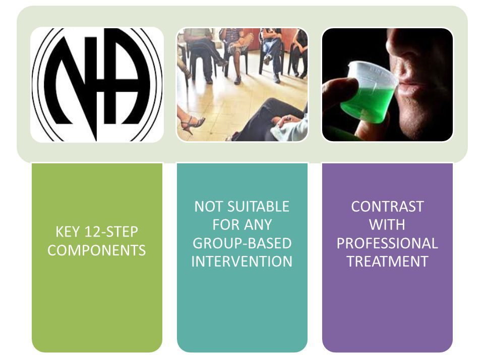 KEY 12-STEP COMPONENTS NOT SUITABLE FOR ANY GROUP-BASED INTERVENTION CONTRAST WITH PROFESSIONAL TREATMENT