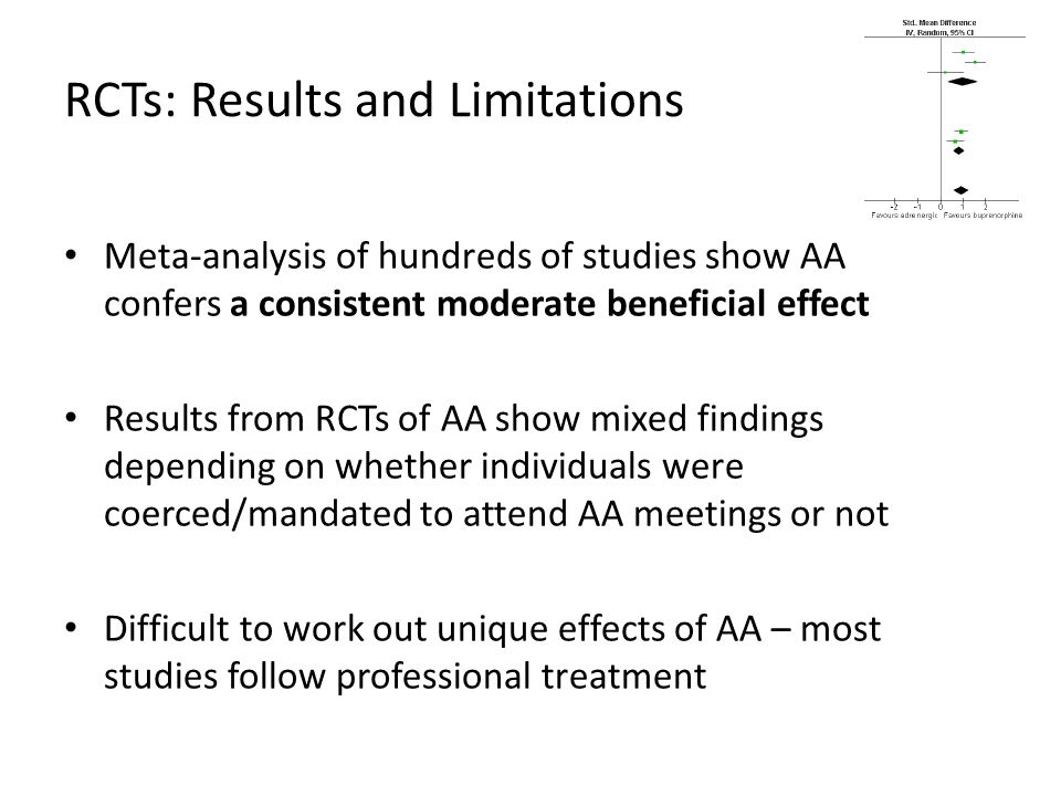 27+ weeks of treatment or AA in the 1 st year after seeking help had better 16-year alcohol- related outcomes AA involvement after year 1 also associated with better 16-year outcomes Treatment after year 1 not associated with better 16-year outcomes Duration of treatmentDuration of AA