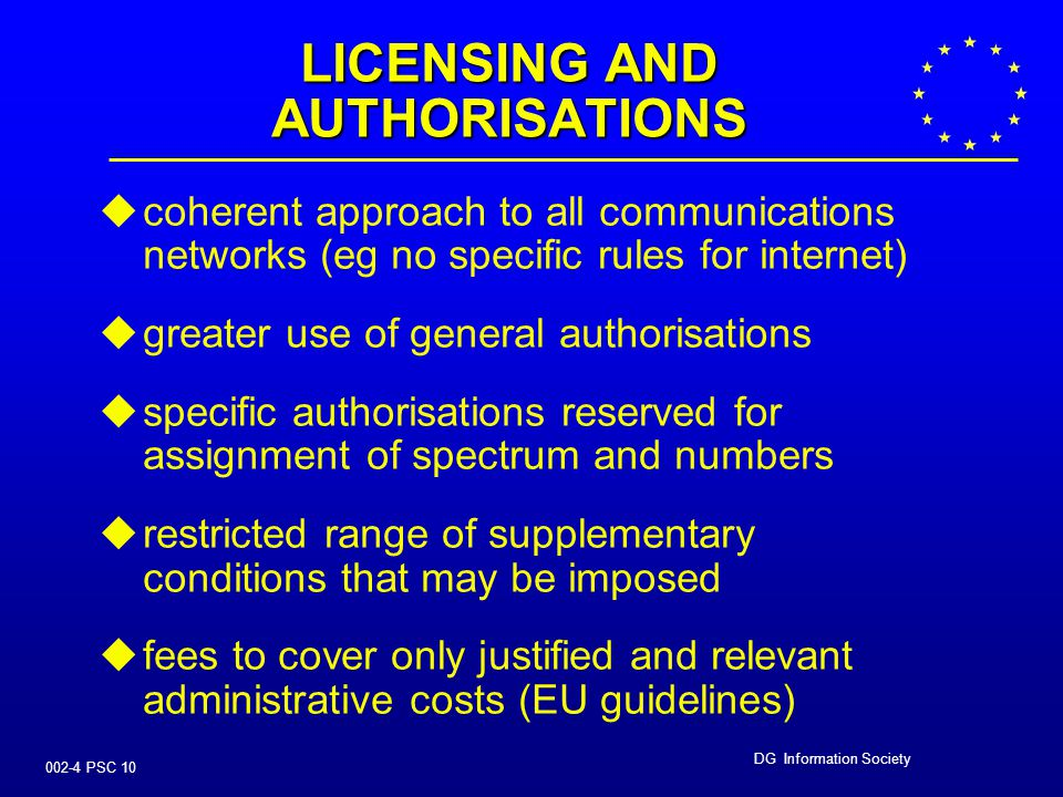 DG Information Society 002-4 PSC 9 AREAS FOR PUBLIC COMMENT   licensing and authorisations   access and interconnection   management of radio sp