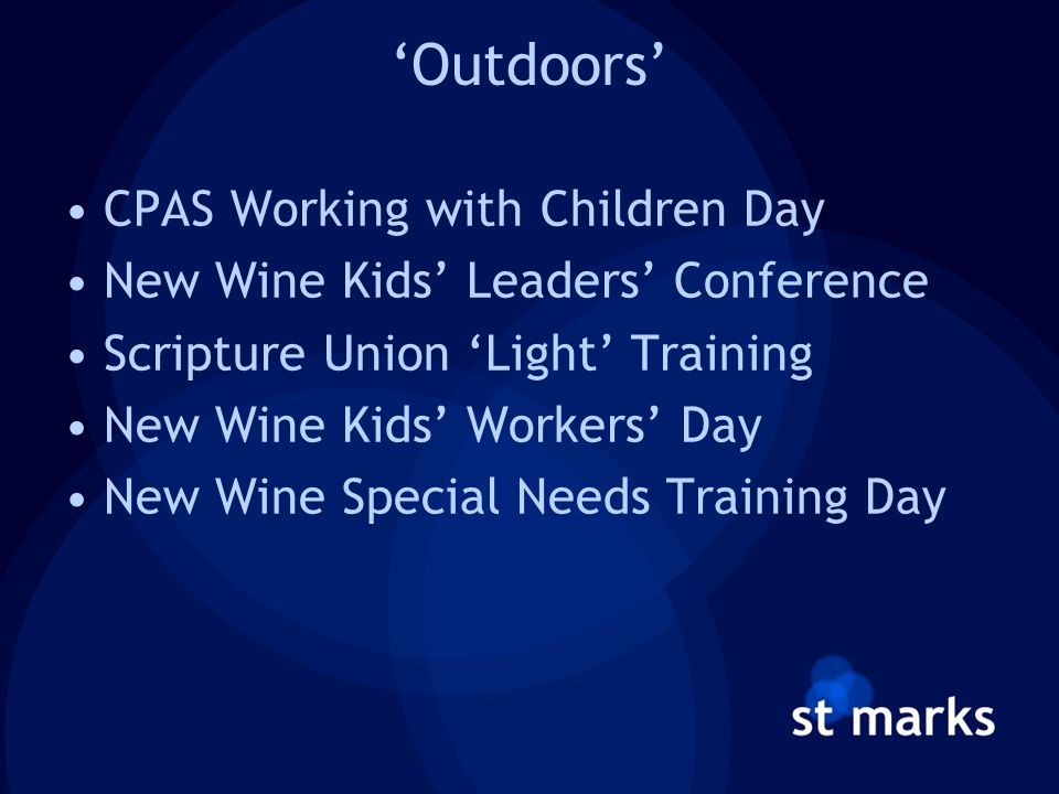 'Outdoors' CPAS Working with Children Day New Wine Kids' Leaders' Conference Scripture Union 'Light' Training New Wine Kids' Workers' Day New Wine Special Needs Training Day