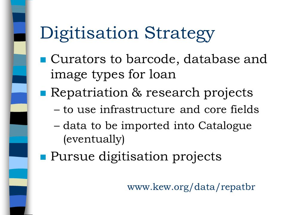 Digitisation Strategy n Curators to barcode, database and image types for loan n Repatriation & research projects –to use infrastructure and core fields –data to be imported into Catalogue (eventually) n Pursue digitisation projects www.kew.org/data/repatbr