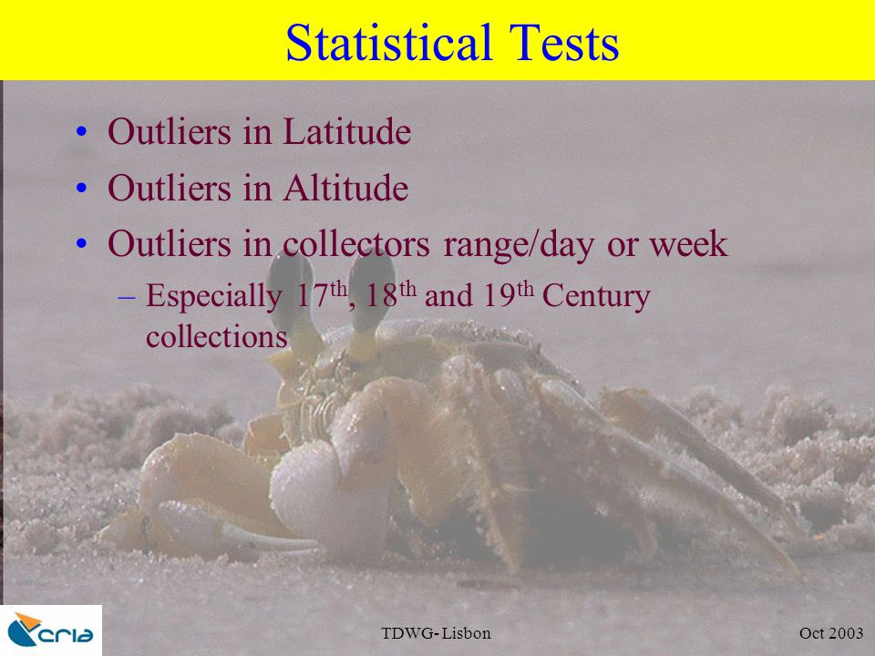 TDWG- Lisbon Oct 2003 Statistical Tests Outliers in Latitude Outliers in Altitude Outliers in collectors range/day or week –Especially 17 th, 18 th and 19 th Century collections