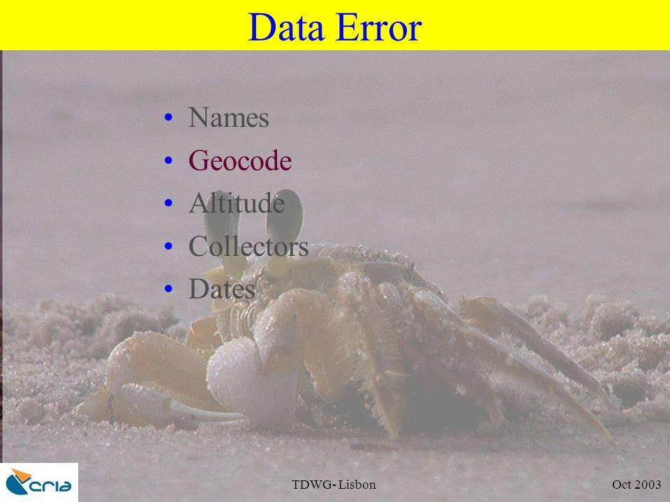 TDWG- Lisbon Oct 2003 Data Error Names Geocode Altitude Collectors Dates