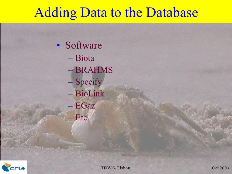 TDWG- Lisbon Oct 2003 Adding Data to the Database Software –Biota –BRAHMS –Specify –BioLink –EGaz –Etc.