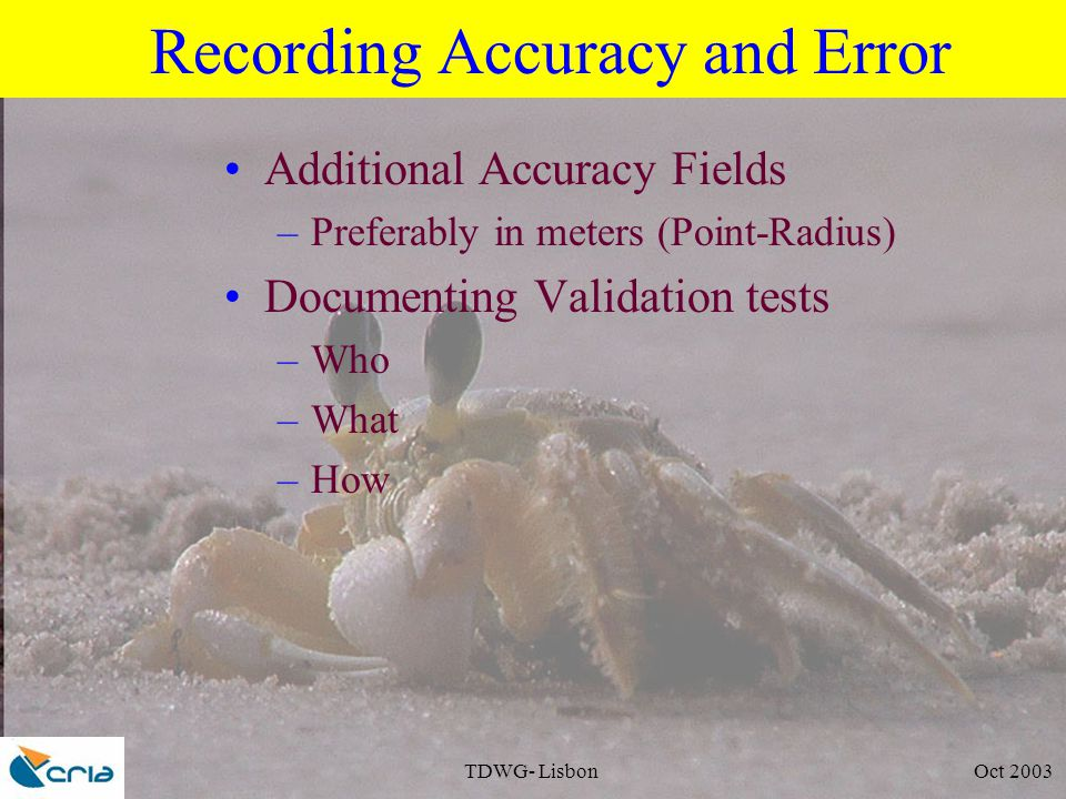 TDWG- Lisbon Oct 2003 Recording Accuracy and Error Additional Accuracy Fields –Preferably in meters (Point-Radius) Documenting Validation tests –Who –What –How