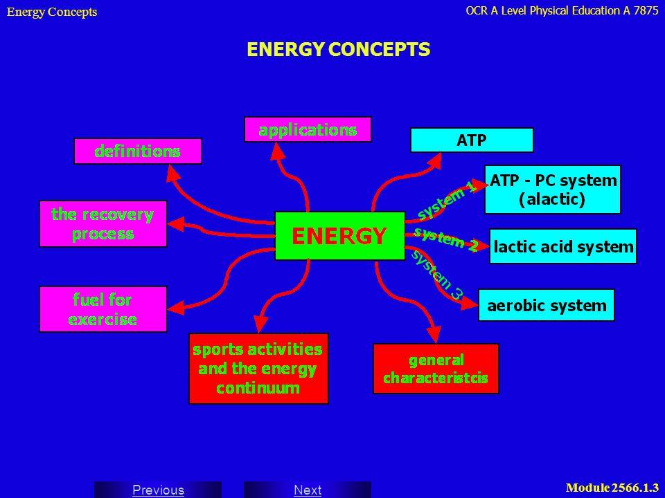 OCR A Level Physical Education A 7875 Next Previous Module 2566.1.3 ENERGY CONCEPTS Energy Concepts