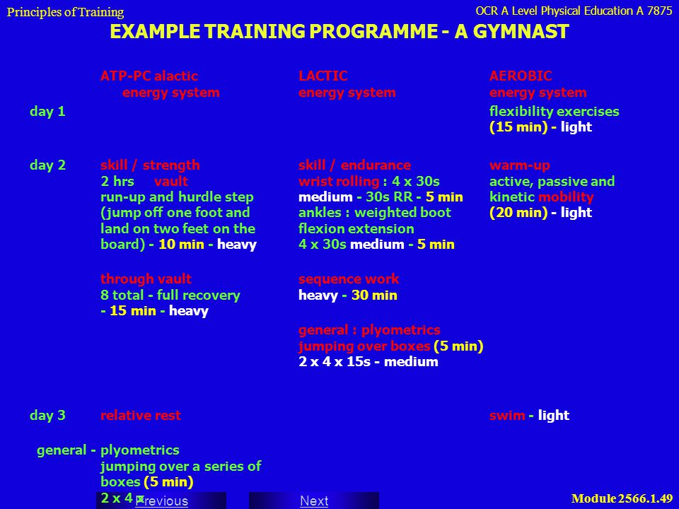 OCR A Level Physical Education A 7875 Next Previous Module 2566.1.49 EXAMPLE TRAINING PROGRAMME - A GYMNAST ATP-PC alacticLACTICAEROBIC energy systeme