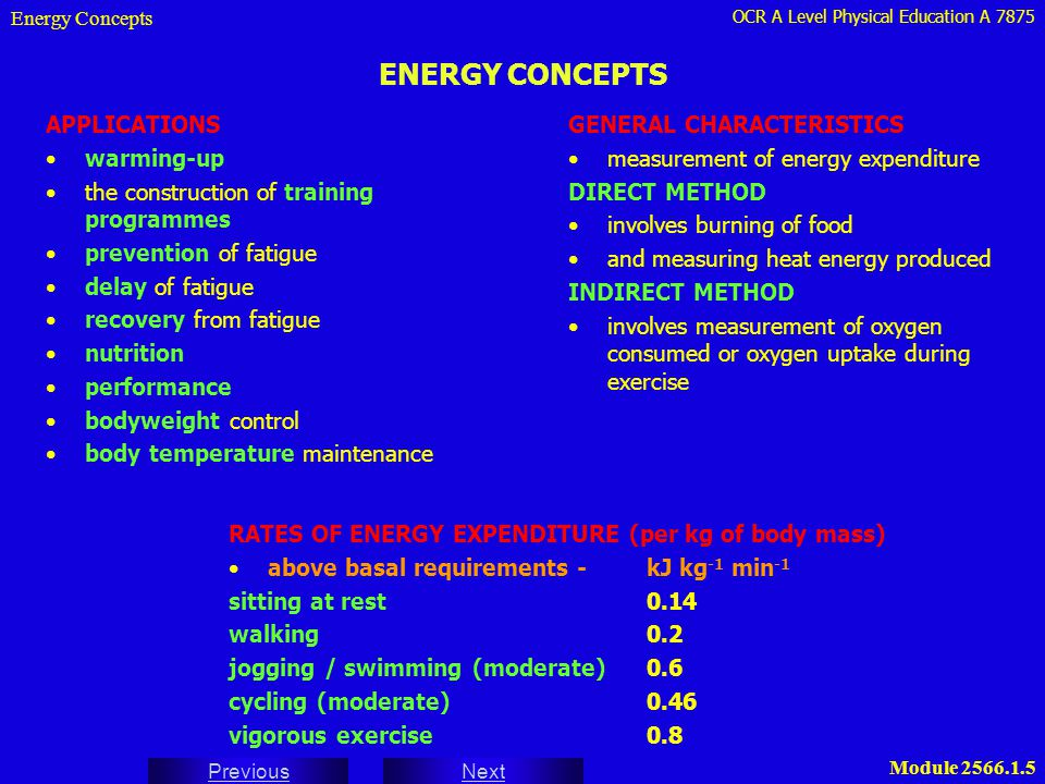 OCR A Level Physical Education A 7875 Next Previous Module 2566.1.5 ENERGY CONCEPTS APPLICATIONS warming-up the construction of training programmes pr
