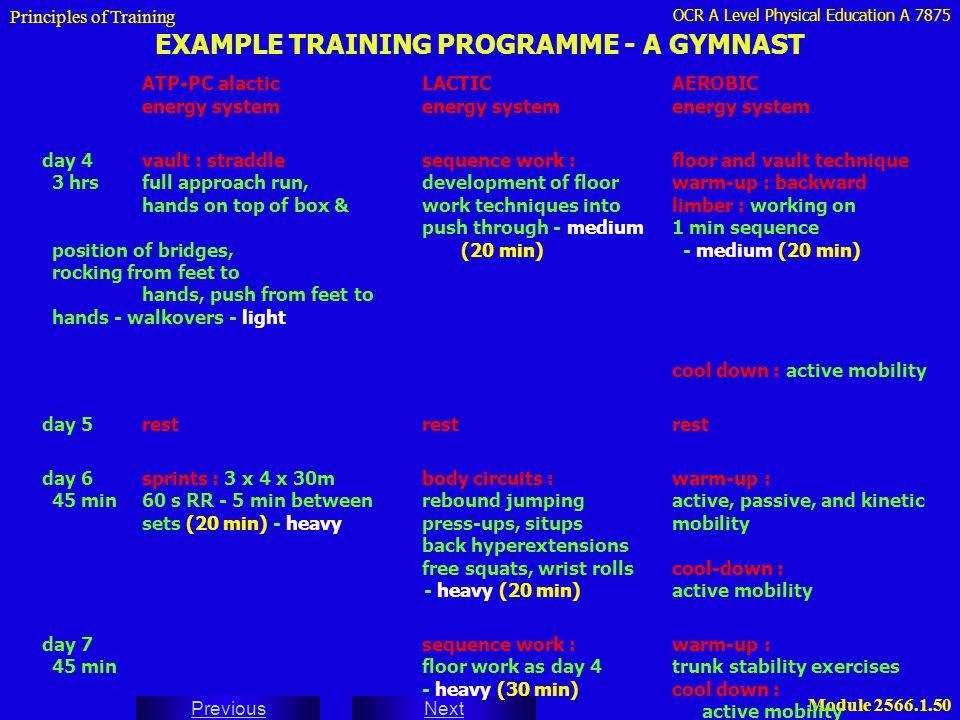 OCR A Level Physical Education A 7875 Next Previous Module 2566.1.50 EXAMPLE TRAINING PROGRAMME - A GYMNAST ATP-PC alacticLACTICAEROBIC energy systeme