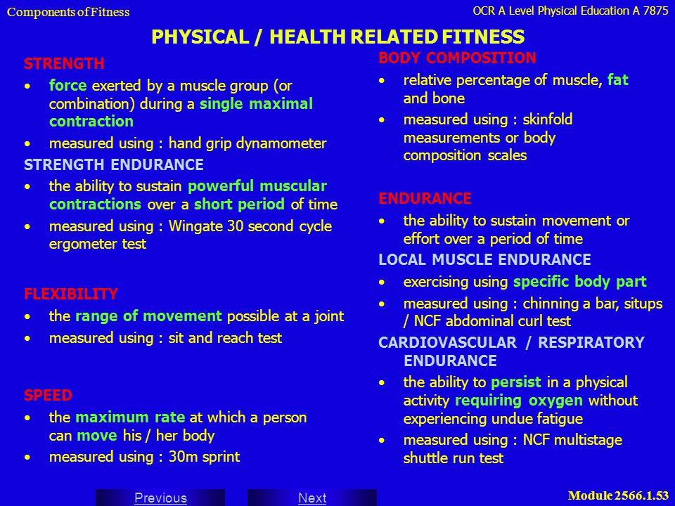 OCR A Level Physical Education A 7875 Next Previous Module 2566.1.53 PHYSICAL / HEALTH RELATED FITNESS STRENGTH force exerted by a muscle group (or co