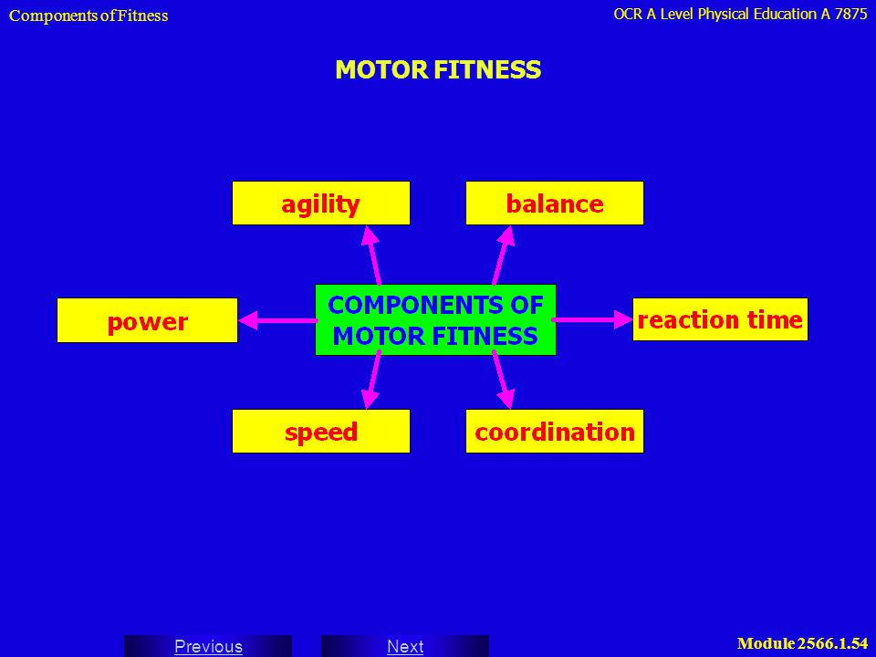 OCR A Level Physical Education A 7875 Next Previous Module 2566.1.54 MOTOR FITNESS Components of Fitness