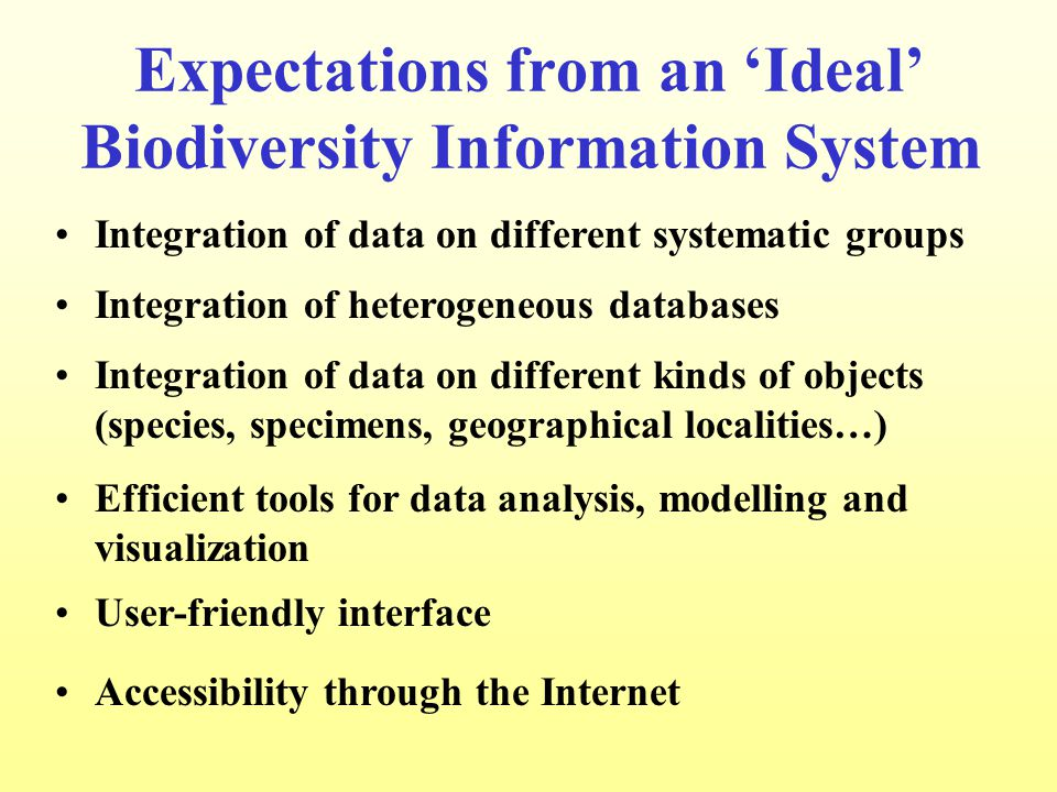 Expectations from an 'Ideal' Biodiversity Information System Integration of data on different systematic groups Integration of heterogeneous databases Integration of data on different kinds of objects (species, specimens, geographical localities…) Efficient tools for data analysis, modelling and visualization Accessibility through the Internet User-friendly interface