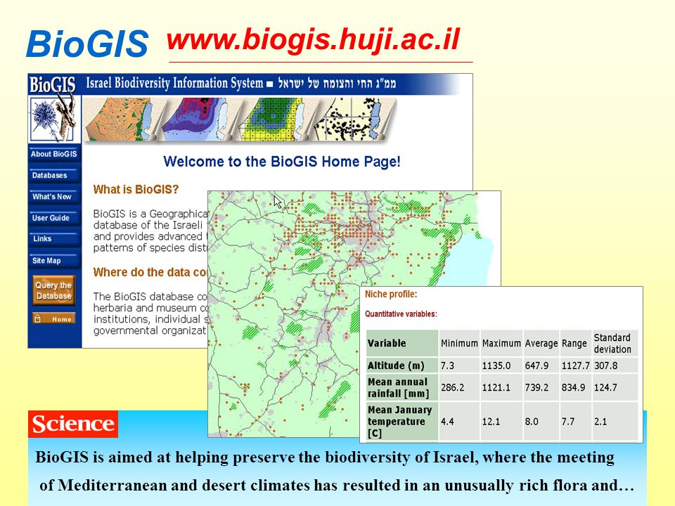 www.biogis.huji.ac.il BioGIS BioGIS is aimed at helping preserve the biodiversity of Israel, where the meeting of Mediterranean and desert climates has resulted in an unusually rich flora and…