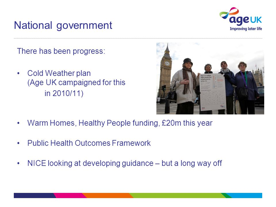 National government There has been progress: Cold Weather plan (Age UK campaigned for this in 2010/11) Warm Homes, Healthy People funding, £20m this year Public Health Outcomes Framework NICE looking at developing guidance – but a long way off