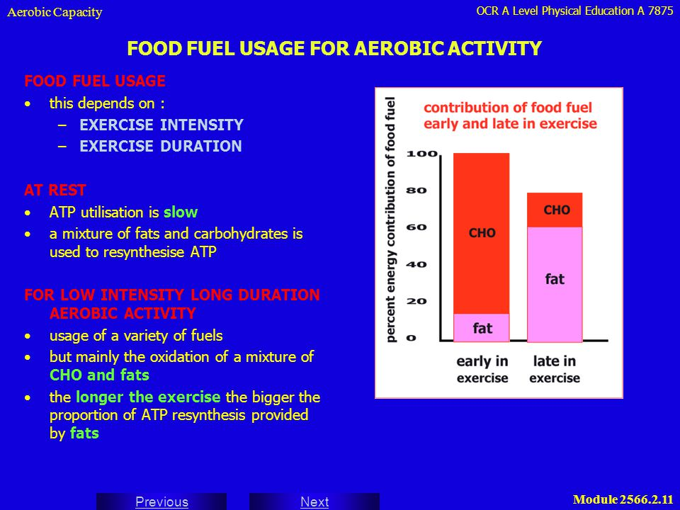 OCR A Level Physical Education A 7875 Next Previous Module 2566.2.11 FOOD FUEL USAGE FOR AEROBIC ACTIVITY FOOD FUEL USAGE this depends on : –EXERCISE