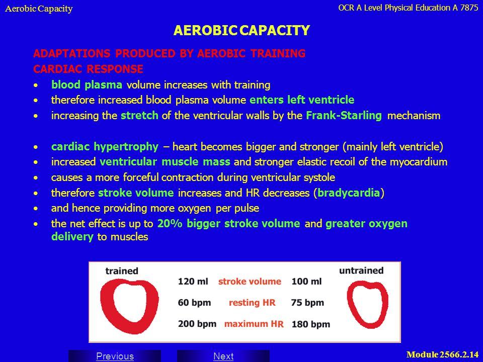 OCR A Level Physical Education A 7875 Next Previous Module 2566.2.14 AEROBIC CAPACITY Aerobic Capacity ADAPTATIONS PRODUCED BY AEROBIC TRAINING CARDIA