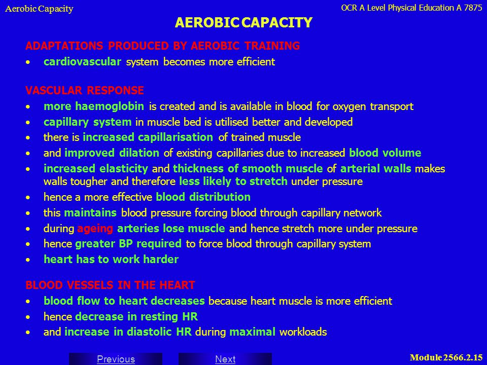 OCR A Level Physical Education A 7875 Next Previous Module 2566.2.15 AEROBIC CAPACITY Aerobic Capacity ADAPTATIONS PRODUCED BY AEROBIC TRAINING cardio