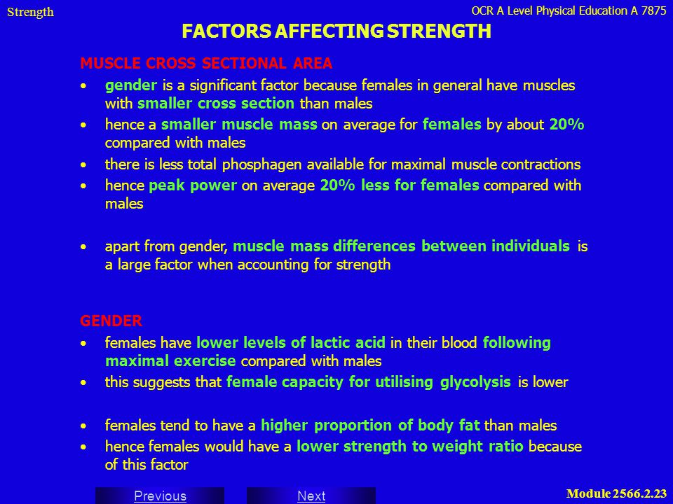 OCR A Level Physical Education A 7875 Next Previous Module 2566.2.23 FACTORS AFFECTING STRENGTH Strength MUSCLE CROSS SECTIONAL AREA gender is a signi