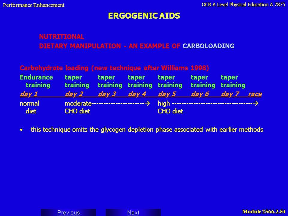 OCR A Level Physical Education A 7875 Next Previous Module 2566.2.54 ERGOGENIC AIDS Performance Enhancement NUTRITIONAL DIETARY MANIPULATION - AN EXAM