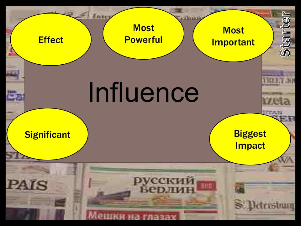 Influence Effect Most Powerful Most Important Significant Biggest Impact